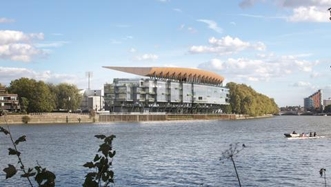 Populous' proposed Riverside Stand at Fulham's Craven Cottage from across the river