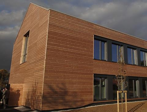 England's first carbon-negative Passivhaus office, at Watermead Business Park in Leicestershire