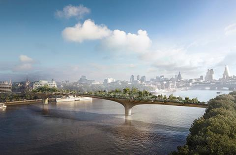 Heatherwick & Arup's Garden Bridge view