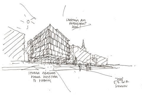 Sketch of commercial new-build in London by Jo Palma