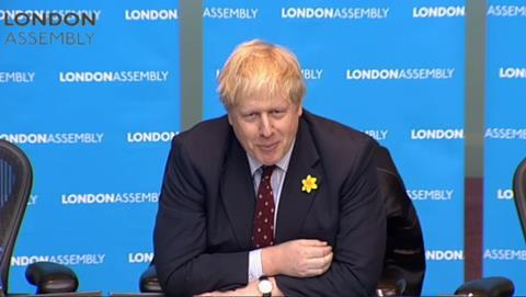 Boris Johnson answering questions on the Garden Bridge at GLA oversight committee