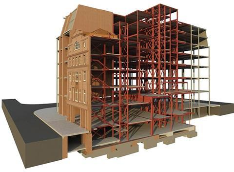 Figure 2: Model of steel framed structure with retained listed facade