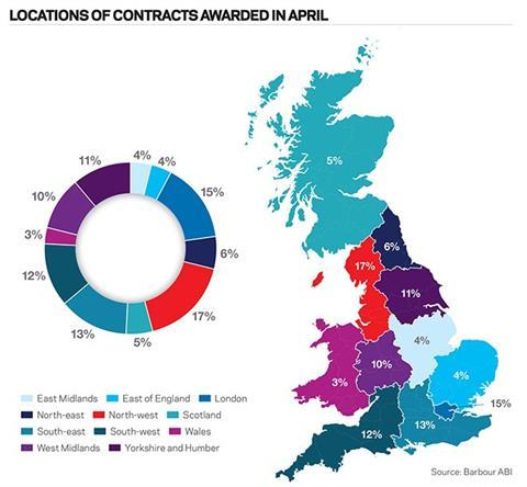 Locations of contracts awarded in April