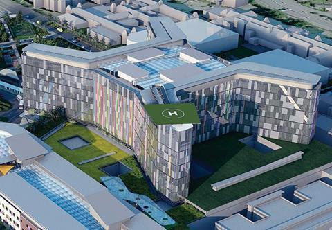 A CGI of New South Glasgow Hospital , where Schneider Electric is installing a BMS that integrates HVAC, lighting, fire, security, CCTV and energy monitoring