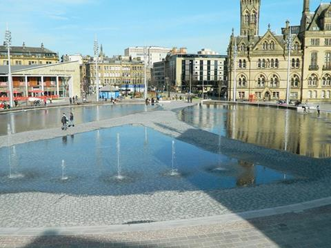 At 3,600m² the Bradford Mirror Pool is the largest water feature in the UK and one of the most environmentally innovative
