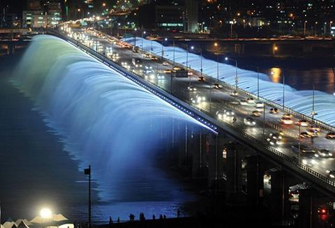 Banpo Bridge in Seoul, South Korea, which pumps continuously recycled water drawn directly from the river, is a spectacular example of how fountains can enhance the urban landscape