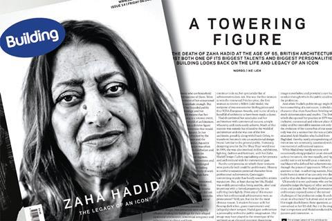 Image of article and Building front cover from 8 April 2016 about Zaha Hadid's death