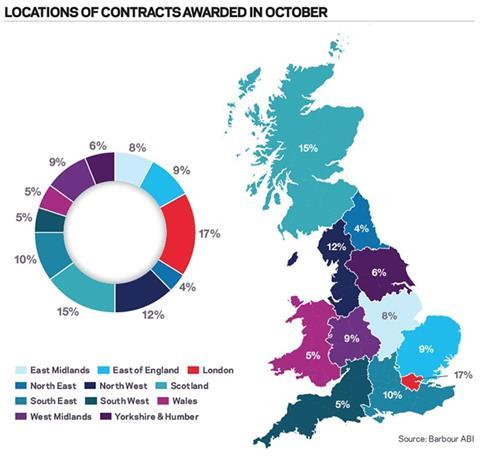 Locations of contracts awarded in October
