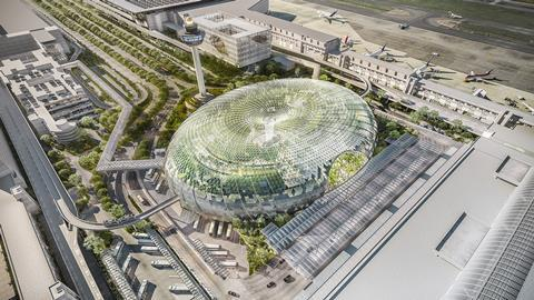 Aerial view of Jewel Changi Airport designed by Moshe Safdie