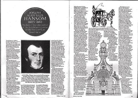 Hansom is awarded a GLC Blue Plaque