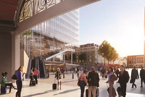CGI of the public realm at Sellar and Piano's Paddington Cube - view from Paddington Station