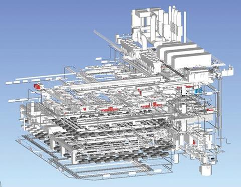 BIM was used extensively throughout construction and these models show the extent of M and E services