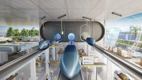 Foster & Partners'  DP World Cargospeed project in Dubai, created in conjunction with DP World and Virgin Hyperloop One