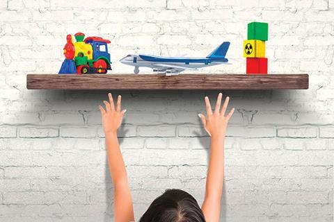 Child reaching for plane
