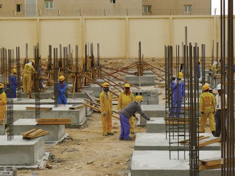 Migrant construction workers in Doha - March 2013