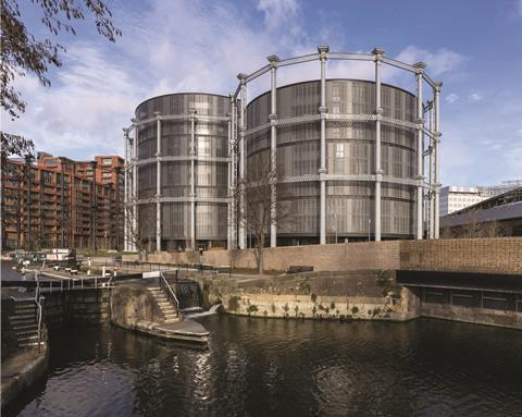 The regent's canal and gasholders photography by peter landers