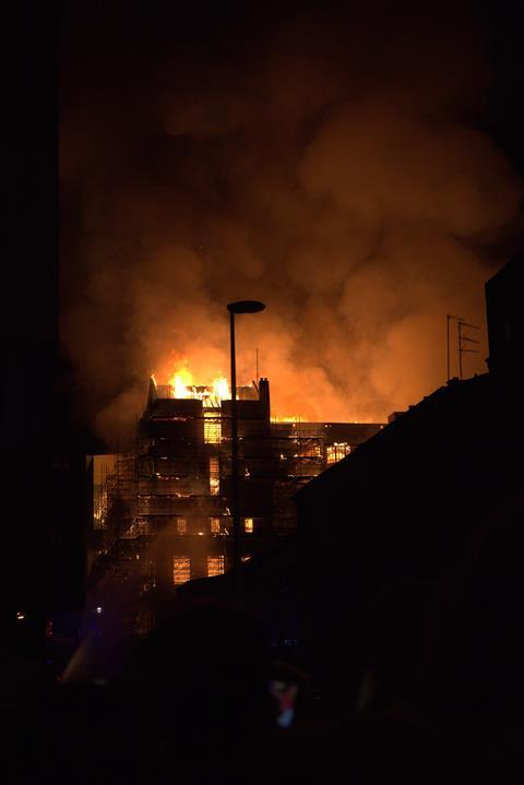 Fire rages for the second time through the Mackintosh Building in Glasgow