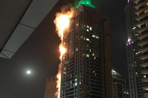 Torch Tower in Dubai on fire 2017, 4 August
