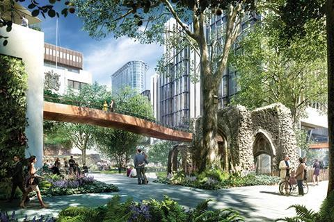 The scheme reinstated elevated walkways that link the Barbican to the Guildhall – these will cantilver from the new scheme