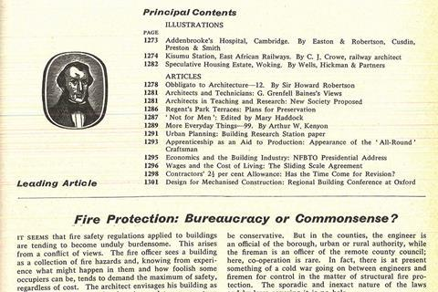 Building archive screen grab of 1962 article: Fire Protection: Bureaucracy or Commonsense?