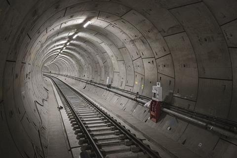 View of inside of Crossrail tunnel