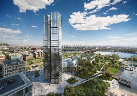 Foster and Partners - MOL campus Budapest - daytime view looking towards old city