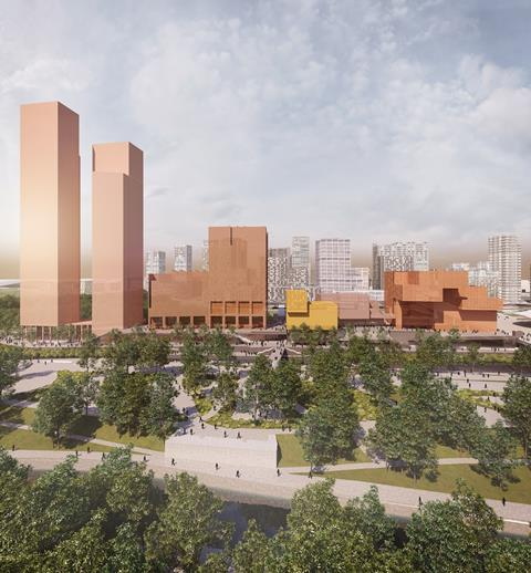 Olympicopolis - Stratford Waterfront - Allies and Morrison, O'Donnell and Tuomey and Arquitecturia. Image shows from left to right: the two residential towers, UAL London College of Fashion, the potential Smithsonian building standing slightly in front of