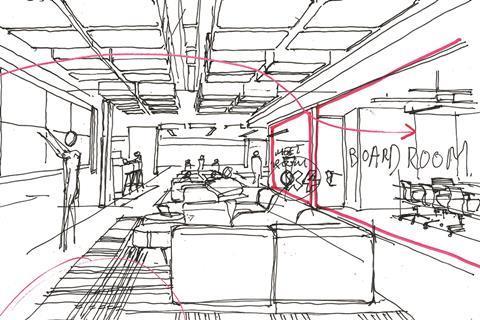 Sketch of open-plan office interior