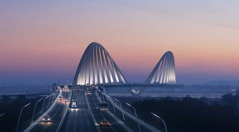 ZHA Zaha Hadid joint second place design for Danube bridge (4)