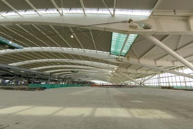 The departures area at the top of the main terminal will be open plan to take advantage of the huge space and the striking roof structure